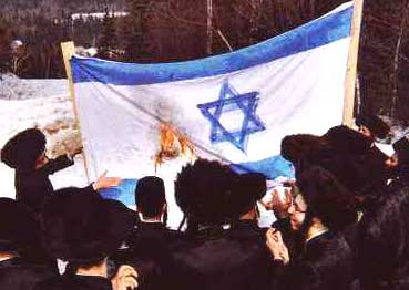 Orthodox Jews burning an Israeli flag as a protest against Zionism